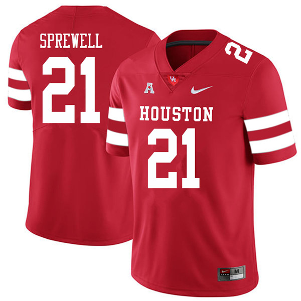 2018 Men #21 Gleson Sprewell Houston Cougars College Football Jerseys Sale-Red